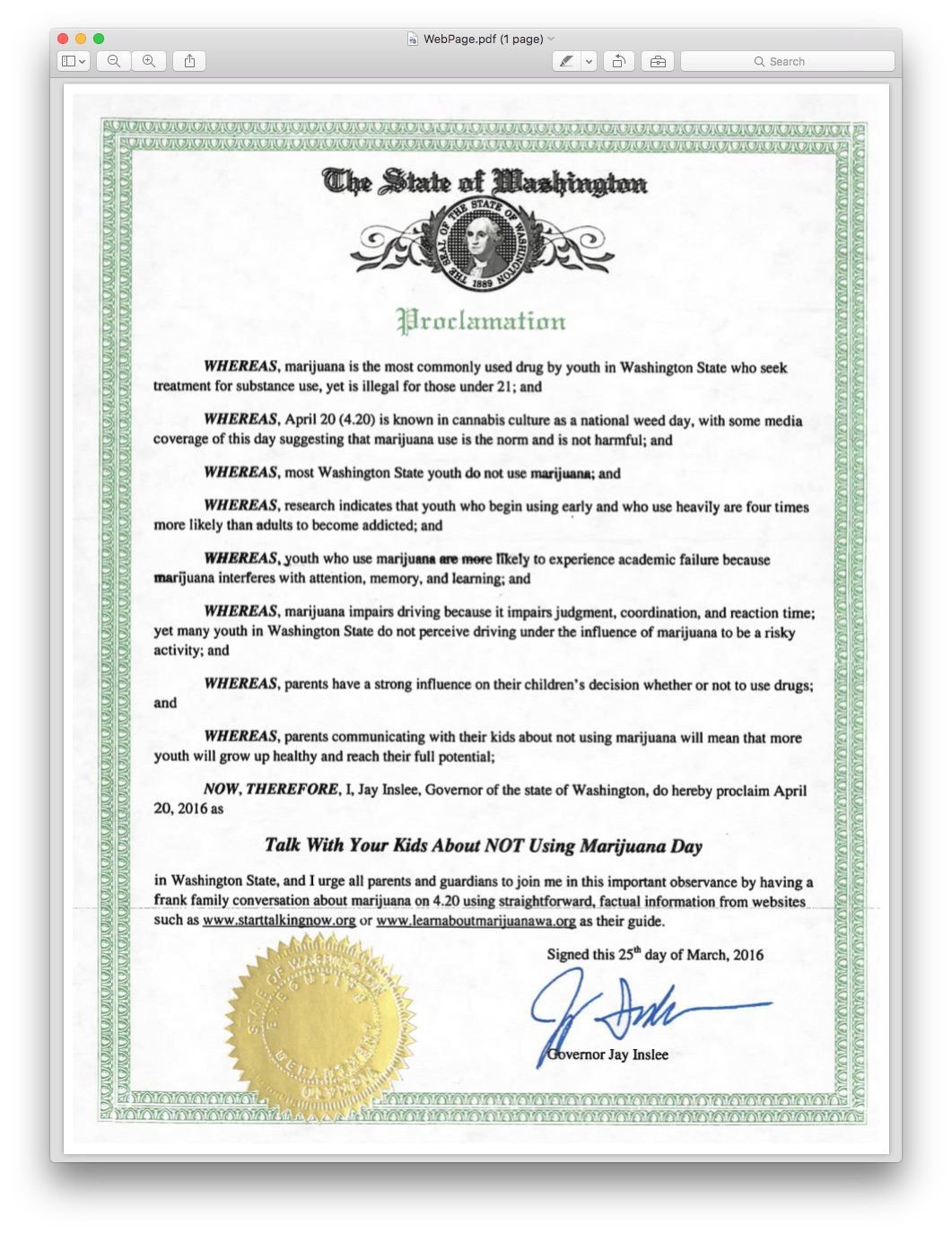 Washington state government for kids - Proclamation 4 20